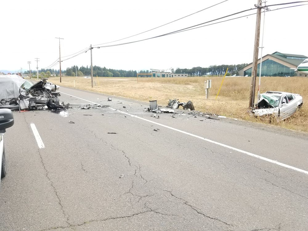 Photo courtesy Oregon State Police##Three people were killed Saturday afternoon in a two-vehicle crash on Highway 18 in the area of the Evergreen Aviation & Space Museum.