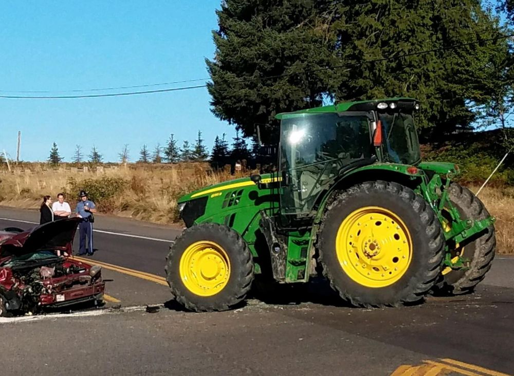 Photo courtesy Oregon State Police##One person was killed Tuesday morning south of Lafayette on Highway 99W in a crash involving a tractor and car.