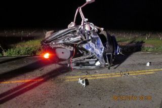 Photo courtesy of Oregon State Police##Three persons were injured, one of whom was arrested, when their vehicle crashed early Friday morning on Wallace Road