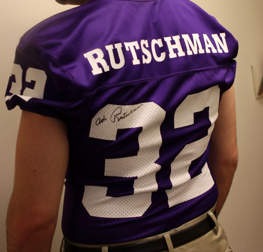 Submitted photo##A LInfield football jersey similar to Ad Rutschman s original, which was taken from Linfiel College over the weekend.