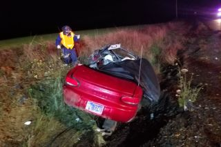 Oregon State Police submitted photos##A Carlton man, driving this car, was killed Thursday night in a two-vehicle crash south of Monmouth on Highway 99W.