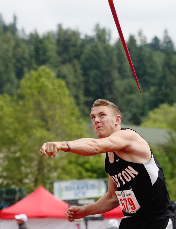 Rockne Roll/News-Register##Dayton sophomore Aiden Huber set a new personal record in the 3A boys  javelin throw (160 feet, 8 inches), finishing sixth in his first career state appearance.