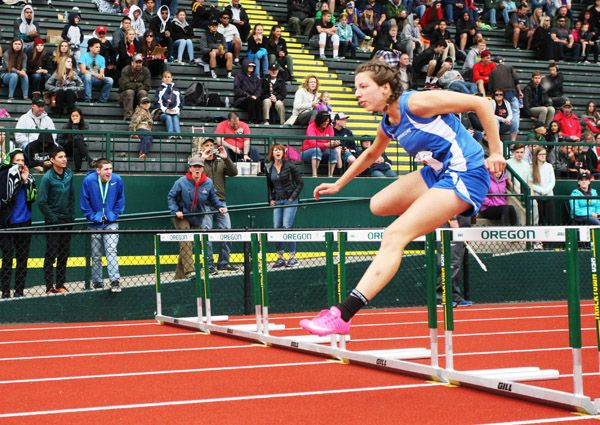 Rockne Roll/News-Register##Amity sophomore Amy Kraemer advanced out of the preliminary rounds of the 3A girls  100-meter hurdles with the day s fastest qualifying time (15.75 seconds).