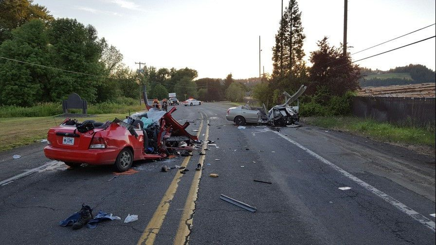 Oregon State Police photo##This was the scene following the two-vehicle crash June 24, 2016 just west of Sheridan on Highway 18B. A Sheridan man, driving the car in the foreground, was killed and three others were injured, including his sister.