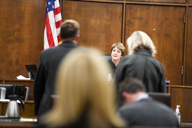 Rusy Rae/News-Register##Presiding Judge Cynthia Easterday listens to Michael Wolfe s defense team.