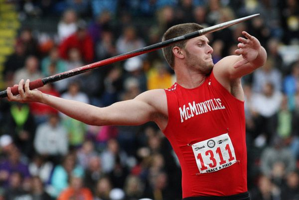 Rockne Roll/News-Register##McMinnville senior Grifin Williams competes in the 6A boys  javelin throw Saturday.