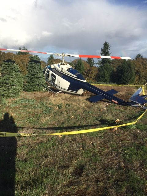 Photo courtesy Polk County Sheriff s Office##The pilot of this helicopter that crashed Monday afternoon south of Willamina was uninjured.