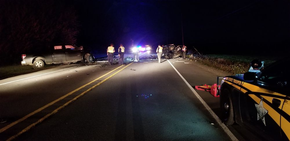 Photo courtesy Oregon State Police##A Sheridan man and Portland resident were killed Sunday night in a two-vehicle crash on Highway 18 just east of Sheridan.