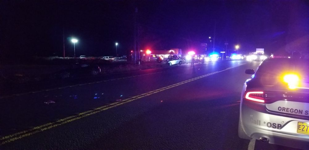 Oregon State Police photo##Two people, including a McMinnville man, were killed in a two-vehicle crash Wednesday night east of Sheridan on Highway 18 at the entrance to the Dairy Queen.