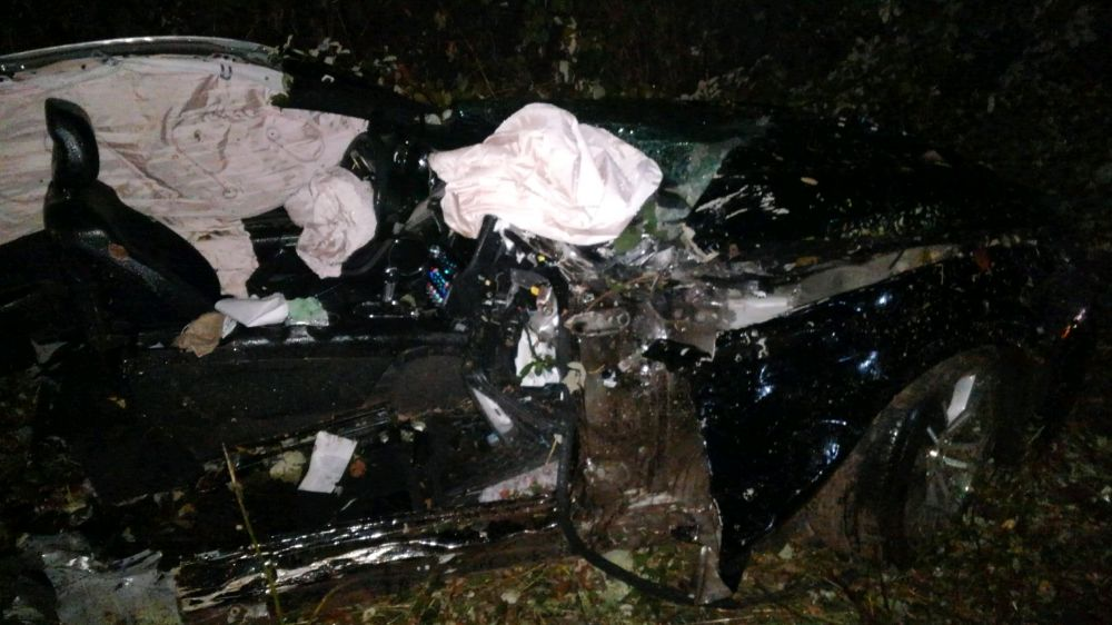 Photo courtesy Oregon State Police##A McMinnville man was killed Saturday night when the vehicle in which he was a passenger went off Highway 240 east of Yamhill.