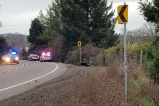 Oregon State Police photo##The rider of this motorcycle was killed Tuesday afternoon when his bike left Highway 47, just north of Yamhill, for an unknown reason.