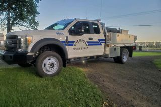 Submitted photo##This is the brush rig that was stolen from the Sheridan/Southwestern Polk/West Valley Fire District Ballston station Monday and recovered Tuesday near Amity.