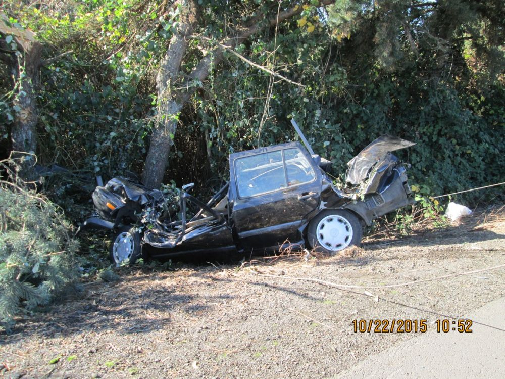 Photos courtesy Oregon State Police##A Carlton man was injured in a single vehicle crash Thursday morning on Highway 240.