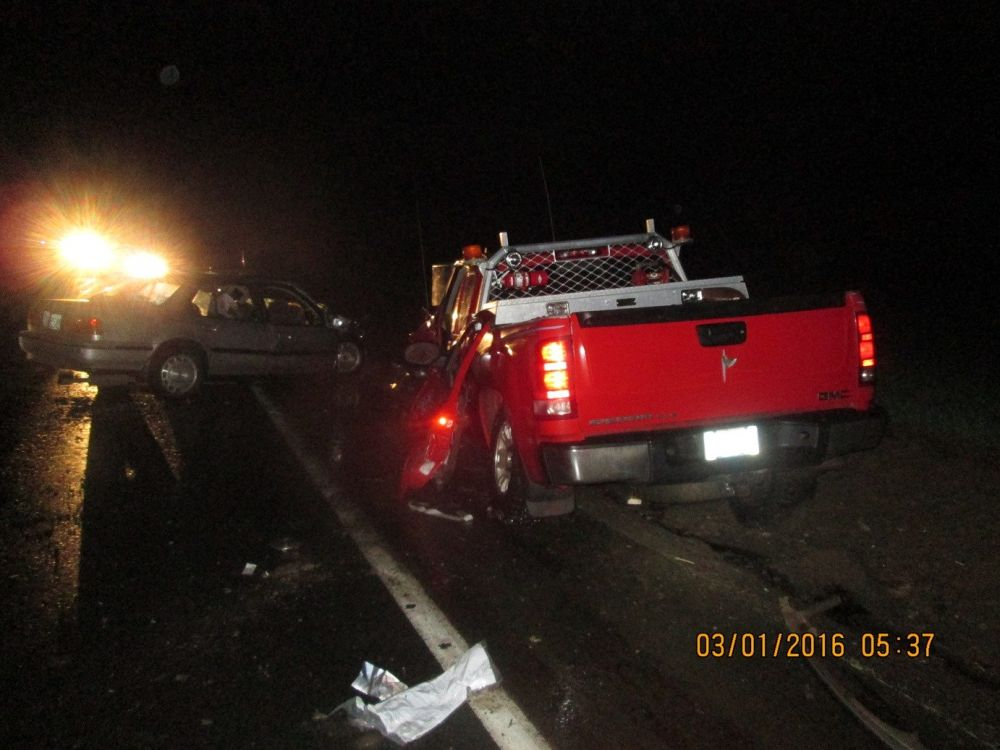 Photo courtesy Oregon State Police##Three people were killed Tuesday morning in a two-vehicle head-on crash north of Carlton on Highway 47.