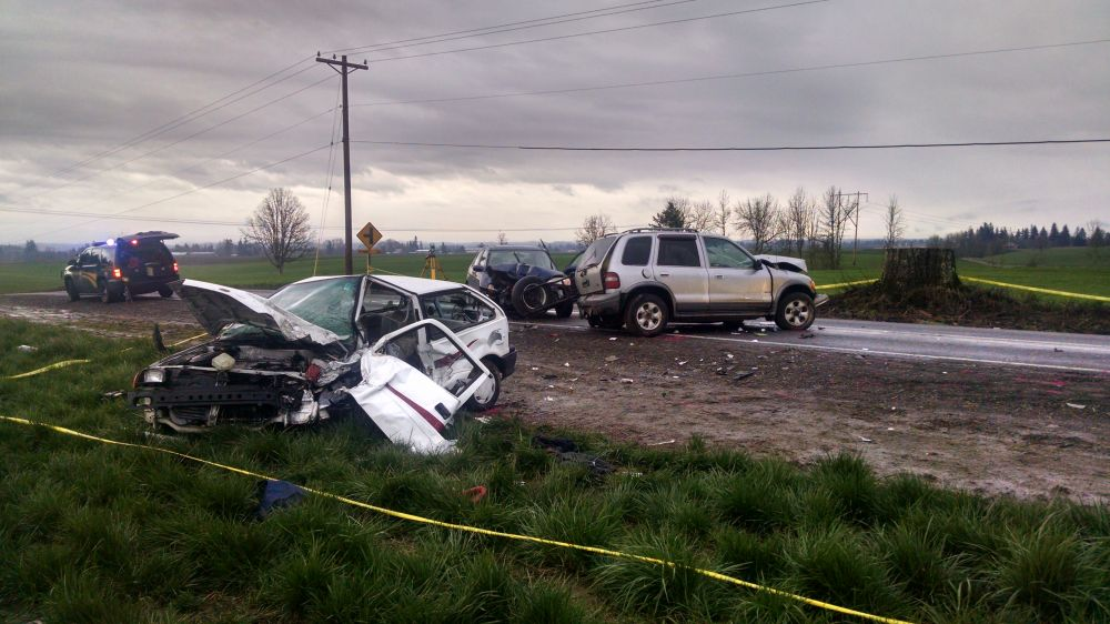 Photo courtesy Marion County Sheriff s Office##An Amity woman was arrested in connection with this three-vehicle crash northwest of Silverton Friday afternoon