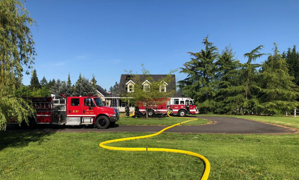 Tualatin Valley Fire & Rescue photo##Several animals were rescued when a fire heavily damaged a  Newberg home The residents were not home at the time.