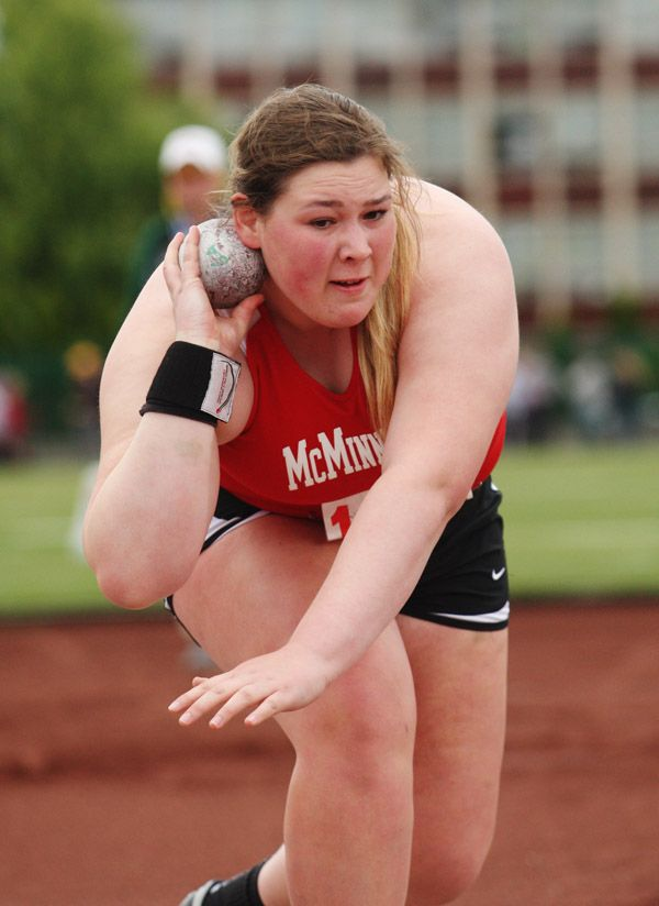 Rockne Roll/News-Register##McMinnville senior Jalyn Clark-Johnson recorded a personal-best shot put mark of 41 feet, 9 1/4 inches in the 6A girls  shot put (third) at the OSAA State Track and Field Championships in Eugene Saturday.