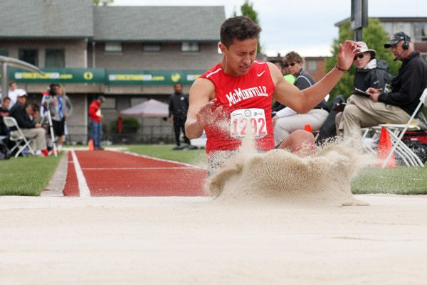 Rockne Roll/News-Register##McMinnville senior Jose Bautista recorded a mark of 39 feet, 11 1/4 inches in the 6A boys  triple jump (16th) during Saturday s finals of the OSAA State Track and Field Championships.