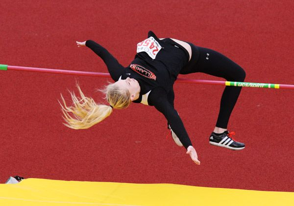 Rockne Roll/News-Register##Willamina senior Kasey Anderson clears a bar during the Class 3A girls  long jump competition at the OSAA State Track and Field Championships Thursday at Hayward Field in Eugene.