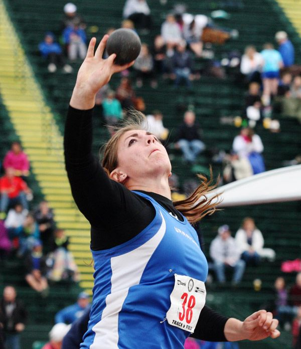 Rockne Roll/News-Register##Amity senior Lindsay McShane became the first Oregon girl since 2006 to win three consecutive state championships in the shot put and discus throw events at any level during the OSAA Class 3A State Track and Field Championships Friday.