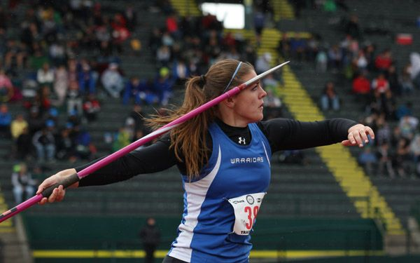 Rockne Roll/News-Register##Amity senior Lindsay McShane takes third place in the 3A girls  javelin throw (125 feet, 4 inches) at the OSAA State Track and Field Championships Thursday.