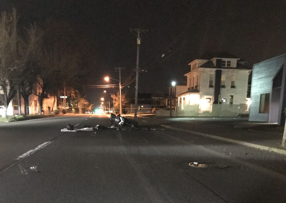 Photo courtesy McMinnville Police Department##A motorcycle crash Sunday night injured the operator and his passenger.
