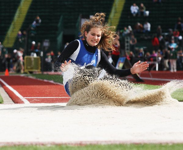 Rockne Roll/News-Register##Amity senior Meghan Drader finished fourth in the 3A girls  long jump competition (15 feet, 3 1/2 inches), scoring five team points for the Warriors.