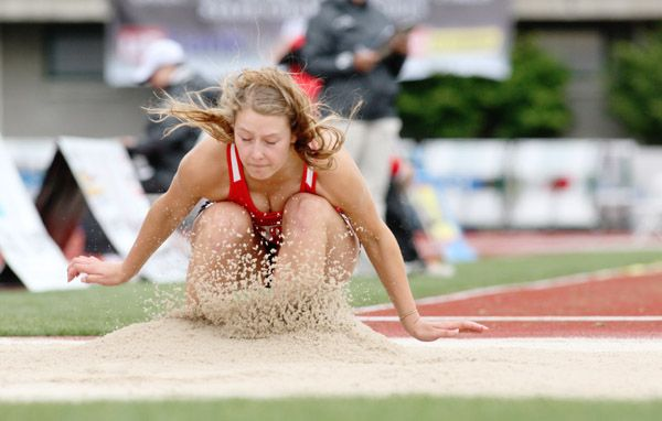 Rockne Roll/News-Register##McMinnville senior Montanna Gubrud won the 6A girls  long jump state title at the OSAA State Track and Field Championships Friday afternoon at Hayward Field. Gubrud s best mark on the day was 17 feet, 6 inches.