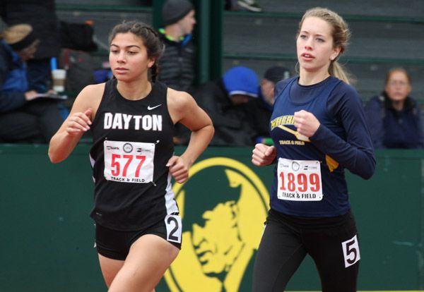 Rockne Roll/News-Register##Dayton junior Nancy Arroyo (left) and Sheridan junior Samantha Byington finished seventh and eighth, respectively, in the 3A girls  3,000 meters at the OSAA State Track and Field Championships Thursday.