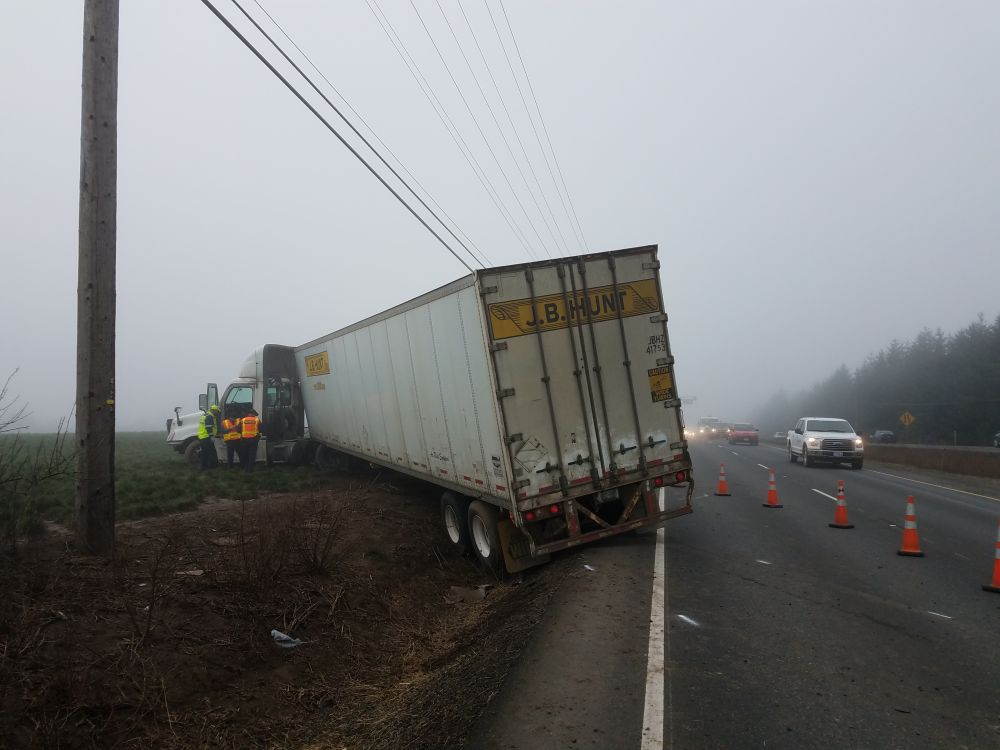 Oregon State Police photos##A Washington state truck driver suffered a heart attack that resulted in a two-vehicle crash just south of Dundee early Wednesday morning. He was pronounced dead at the hospital.