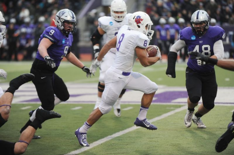 Courtesy of Rusty Rae##Linfield running back Spencer Payne had 59 rushing yards and 31 receiving yards and a touchdown as the Wildcats fell to St. Thomas, 38-17, in the NCAA Division III football semifinals.