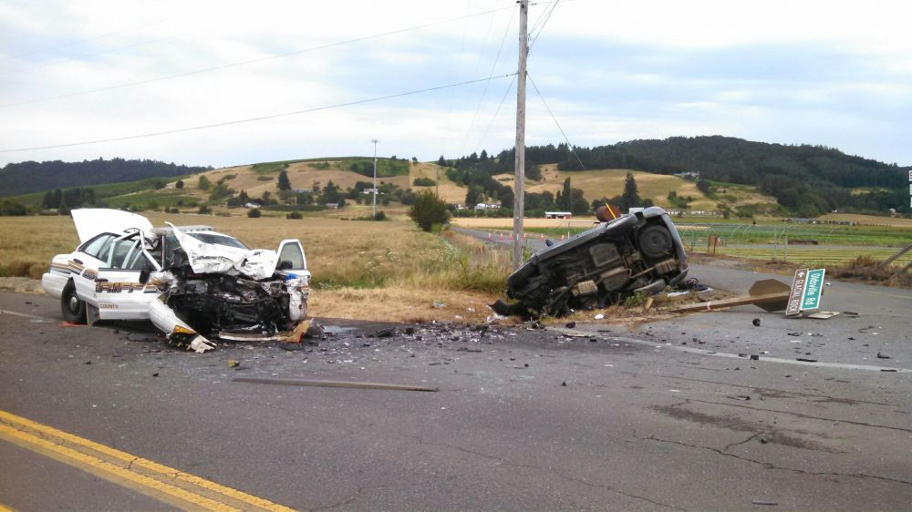 Photos courtesy of the Oregon State Police##A Yamhill County Sheriff s deputy was involved in this two-vehicle crash Sunday morning southwest of McMinnville on Highway 18.