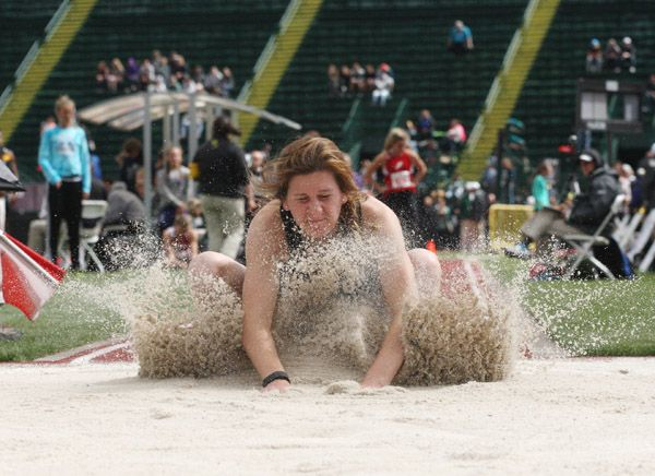 Rockne Roll/News-Register##Dayton sophomore Sierra Bowlin recorded a mark of 14 feet, 2 1/4 inches during the 3A girls  long jump, finishing 10th overall.