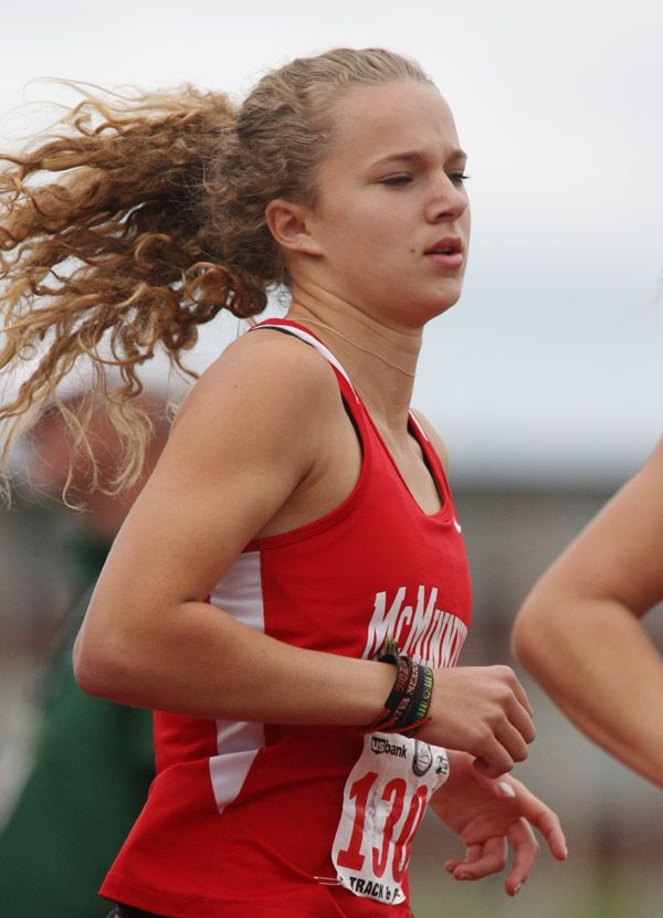Rockne Roll/News-Register##McMinnville senior Whitney Rich competes in the 6A girls  1,500-meter final at the OSAA State Track and Field Championships Saturday.