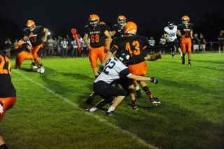 Rusty Rae/News-Register## Sheridan s Joey Daniel tackles Willamina s Chandler Allen during the last drive. Allen would later score the winning TD, on the last play of the game.