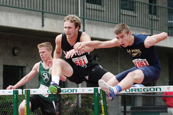 Rockne Roll/News-Register##Dayton senior Zach Spink qualified for the 3A boys  110-meter hurdles final out of Thursday s preliminary races (16.26 seconds).