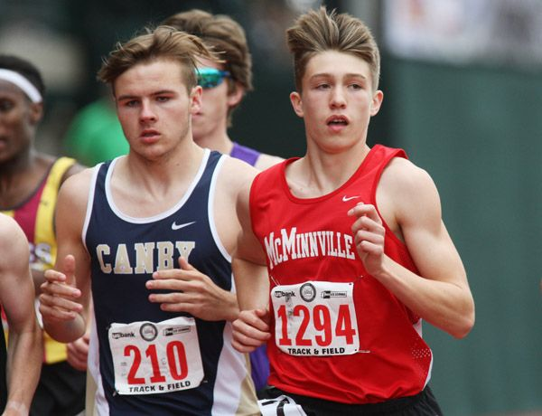 Rockne Roll/News-Register##McMinnville freshman Zane Fodge finished 10th in the 6A boys  1,500 final (3 minutes, 57.79 seconds) at the OSAA State Track and Field Championships Saturday.