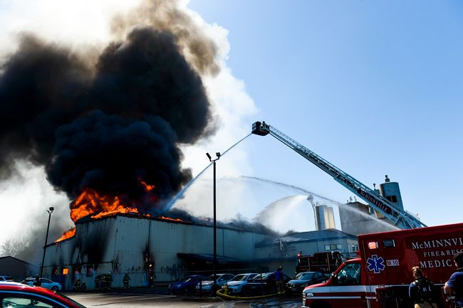 Rusty Rae/News-Register##Multiple fire units responded Tuesday afternoon to a blaze at McMinnville s Organic Valley Creamery on North Highway 99W.