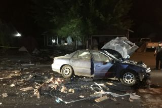 Submitted photo##The car ended up on Darci Drive after traveling through a house