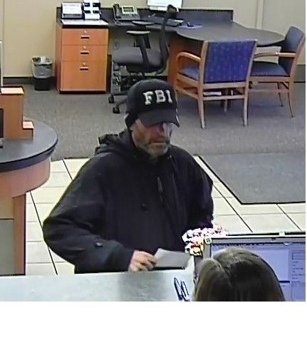 Submitted photo##Security camera shows the alleged suspect of the Chase Bank robbery that occured Tuesday, Jan. 10.