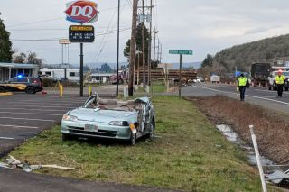 Submitted photo/Oregon State Police##Aftermath of the serious crash near the Sheridan Dairy Queen.