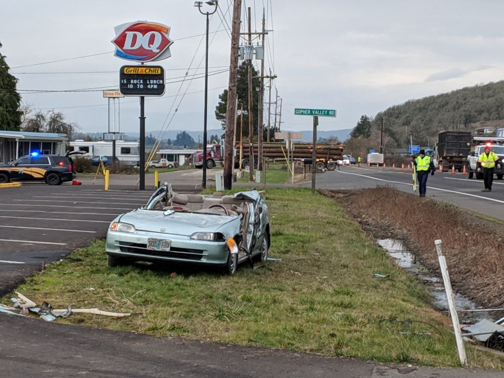 Oregon State Police photos##Three members of a Sheridan family were injured Wednesday morning in a two-vehicle crash east of Sheridan on Highway 18.