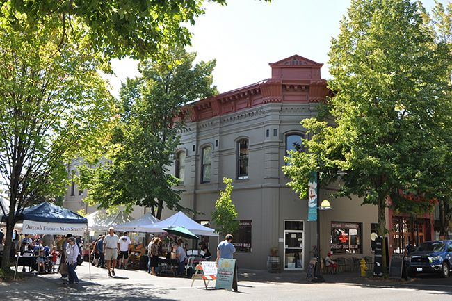Photo courtesy McMinnville Downtown Association##The Farmer s Market on Cowls Street  between Second and Third streets takes place each Thursday afternoon during the summer.