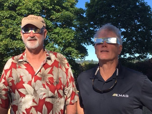 Submitted by Cheryl Nangeroni#Randy and Larry Groth, cousins, watch the eclipse in Dayton.