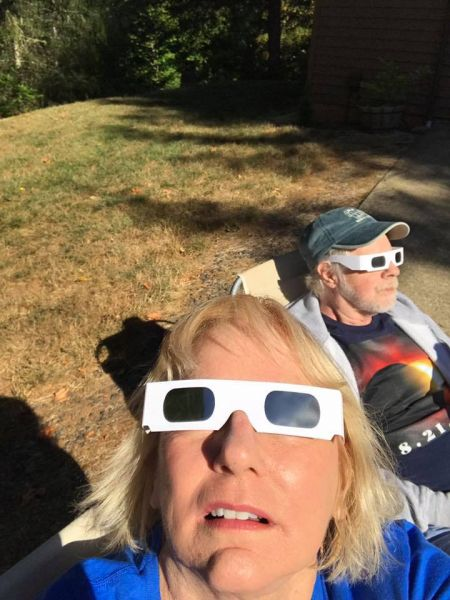 Submitted by Janet Allardyce Ridgley##Driveway viewing party in McMinnville.