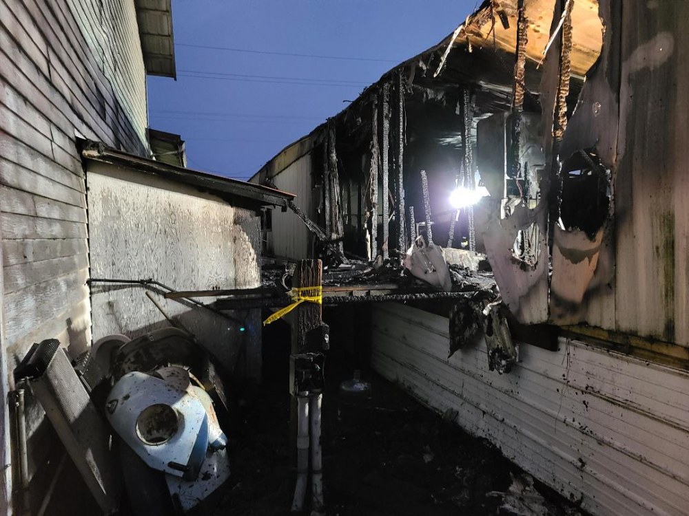 Yamhill Fire District photo##A 13-year-old boy died in a three-alarm fire Sunday night in rural Yamhill.