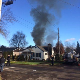 Submitted photo##McMinnville firefighters found black smoke and flames when they responded to a fire in an RV Friday afternoon.