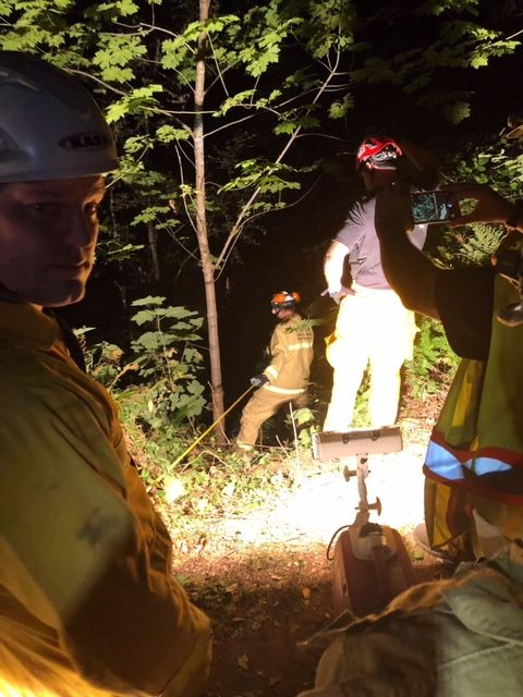 Photos submitted by the Yamhill Fire District##Two injured ATV riders were rescued Thursday night from a steep ravine in rural Yamhill County. Multiple agencies responded.
