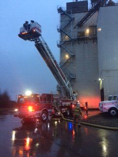 McMinnville Fire Department photo##McMinnville firefighters responded Friday morning to a blaze in a grain bin at the Purina plant.