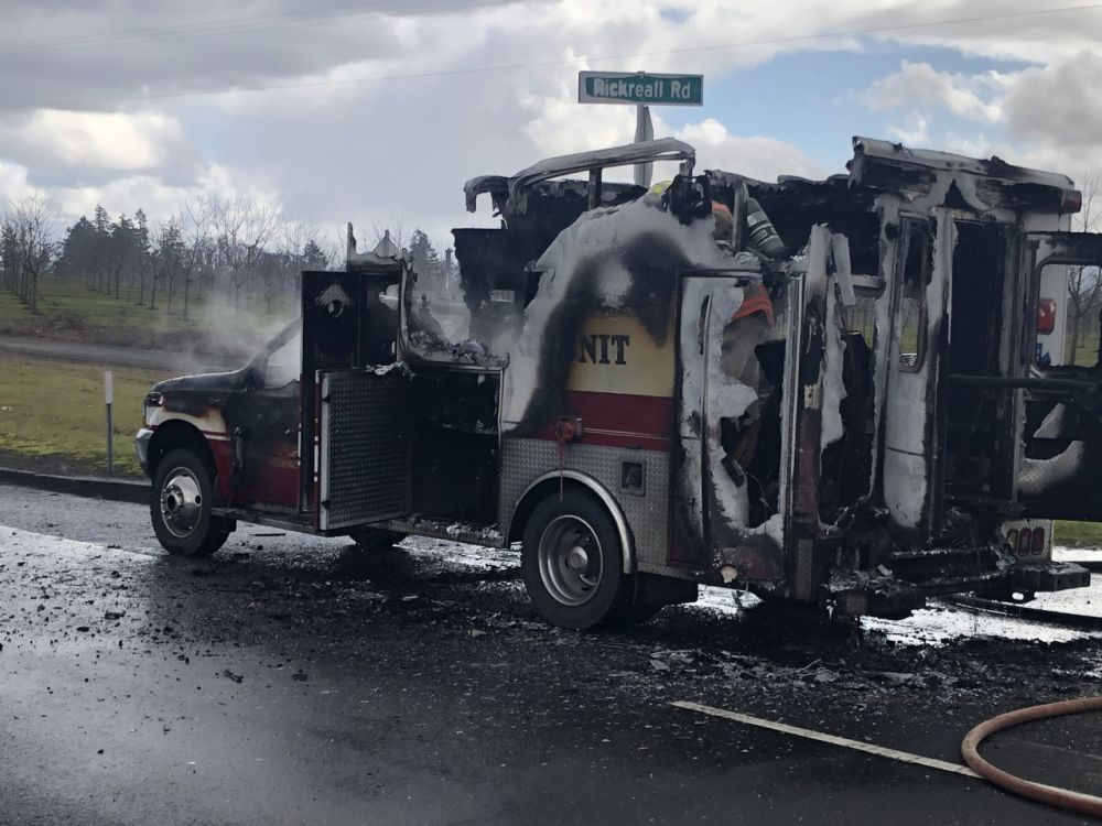 Photos courtesy West Valley Fire District##A fire engulfed a West Valley Fire District ambulance Tuesday on Highway 22 in Polk County.